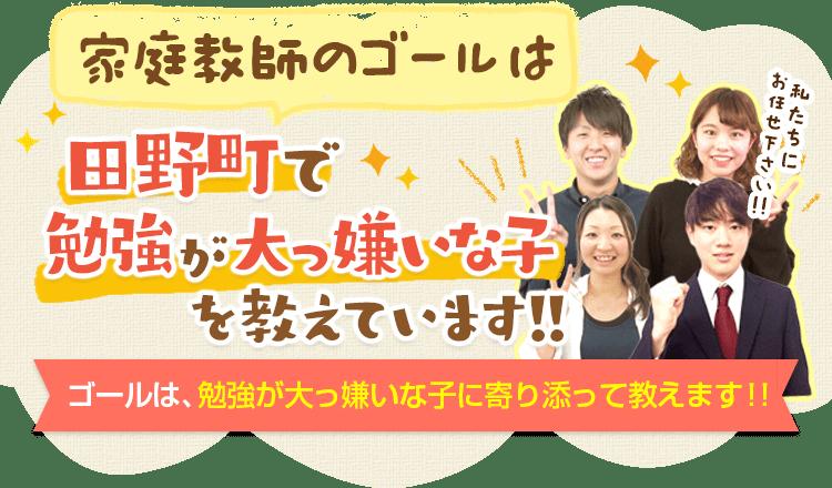 家庭教師のゴールは田野町で勉強大っ嫌いな子専門の家庭教師です。